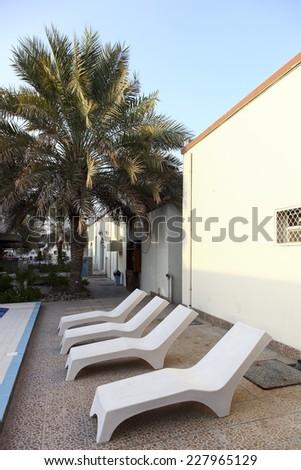 swimming pool  furniture - stock photo