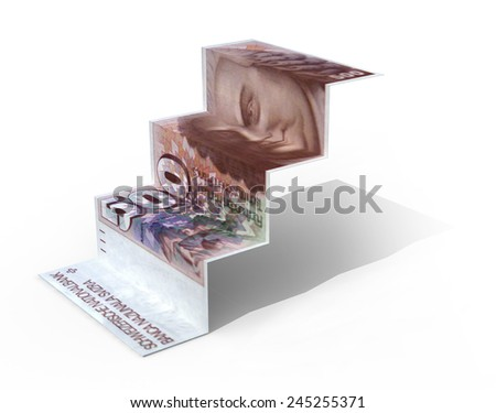 500 swiss franc banknote folded as steps on white background, 3d illustration - stock photo