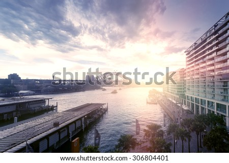 Sydney city buildings in Sydney Harbour - stock photo
