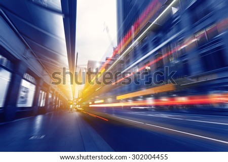 Sydney City traffic light trails in the George Street - stock photo