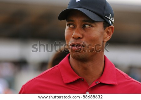 SYDNEY - NOV 12: American golfer Tiger Woods at the Emirates Australian Open at The Lakes golf course. Sydney - November 12, 2011 - stock photo