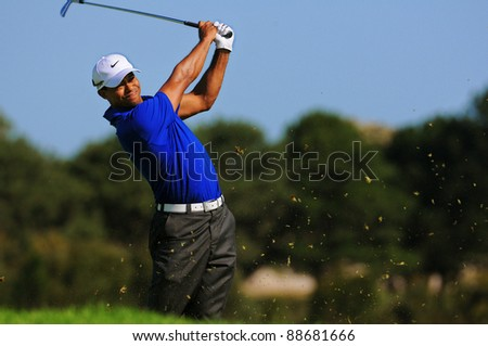 SYDNEY - NOV 12: American golfer Tiger Woods plays from the rough, third round at the Emirates Australian Open at The Lakes golf course. Sydney - November 12, 2011 - stock photo