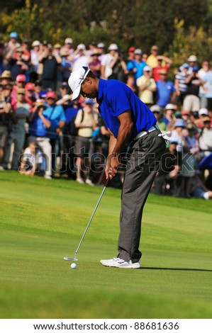SYDNEY - NOV 11: American golfer Tiger Woods putts in the third round at the Emirates Australian Open at The Lakes golf course. Sydney - November 11, 2011 - stock photo