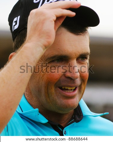 SYDNEY - NOV 13:  Face of a winner, Greg Chalmers claims victory in the Emirates Australian Open at The Lakes golf course. Sydney - November 13, 2011