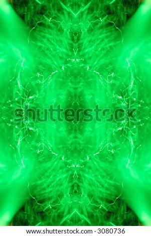 symmetric ornament in green - stock photo