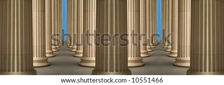 Symmetrical  montage from parts from colonnade of Pushkin Gallery, Moscow - stock photo