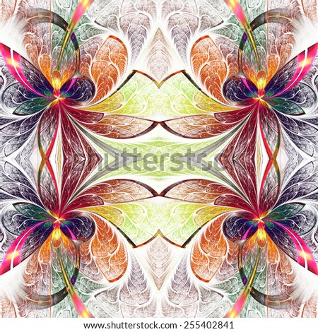Symmetrical multicolored pattern of the leaves. Collection - tree foliage. On black background. - stock photo