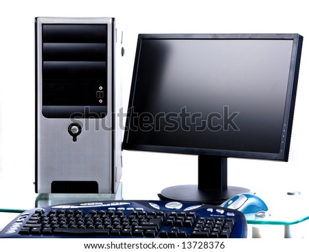 system block,  monitor,  mouse,  keyboard