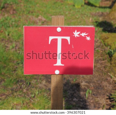 """T"" Sign in the Arboretum near The Rural Village of Batsford near Moreton in Marsh within The Cotswolds, Gloucestershire, England, UK"