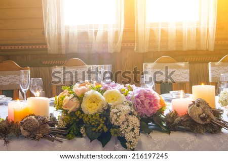 Table decorated for an event party or wedding in Provence style - stock photo