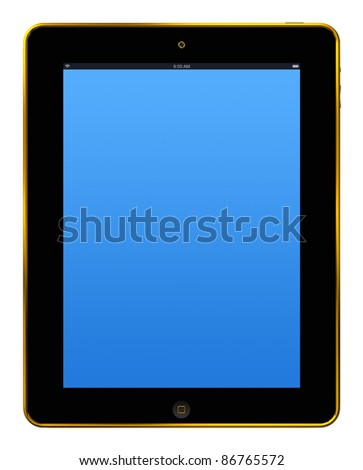 tablet pc gold - stock photo