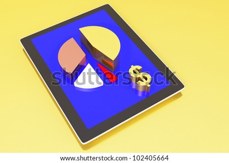 tablet showing a pie graph and dollar sign, business success concept