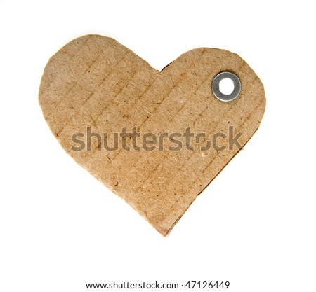 tag cardboard in the form of hearts isolated on white background - stock photo