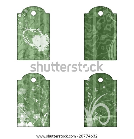 4 tags or labels with green grunge pattern, flowers and hearts