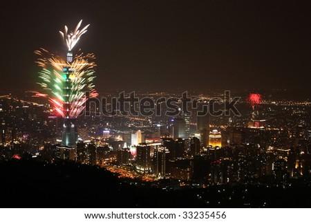 2009 Taipei101 firework show - stock photo