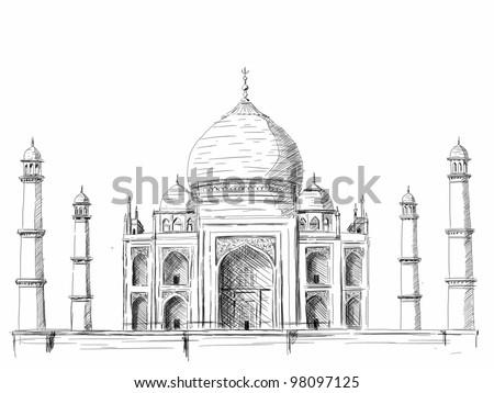 """Taj Mahal"" illustration, pen drawing on white background - stock photo"