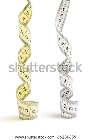 tapes measure isolated on white - stock photo