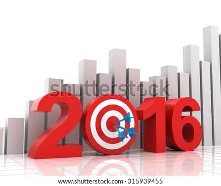 2016 target with bar chart background, 3d render - stock photo