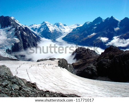 Tasman  Glacier - stock photo