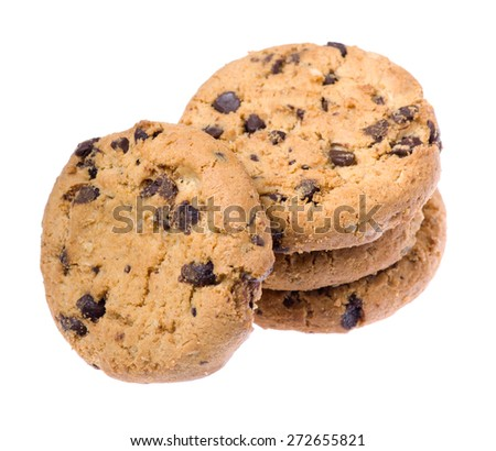 tasty cookies isolated on a white background - stock photo