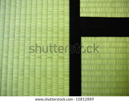 3 Tatami mats (traditional Japanese mats made of rice straw). These are pretty new, so they're still green, later they get more yellow, like dried straw. - stock photo