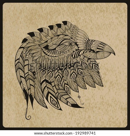 tattoo black  hand drawn, highly detailed eagle head, native american style, rough paper,  - stock photo