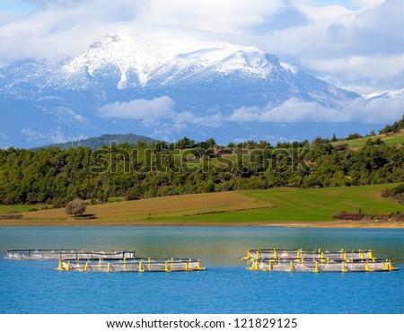 Taurus Mountains front fish farm - stock photo