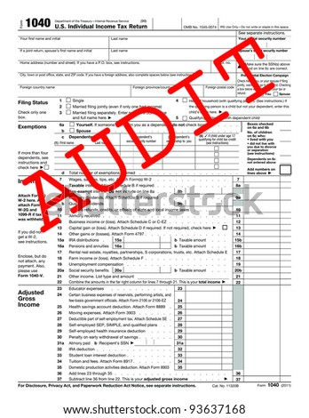 1040 Tax Form with caption AUDIT - stock photo