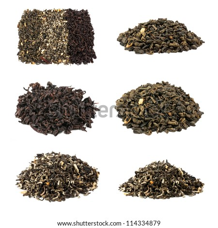 tea collection isolated on white background - stock photo
