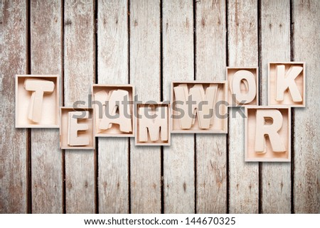 teamwork wood word style - stock photo