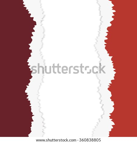 .  tear paper brochure background  red color - stock photo