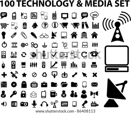 100 technology & media icons, signs, vector set
