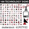 100 technology signs. raster version - stock photo