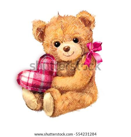 Teddy bear heart isolated on white 554231284 teddy bear with heart isolated on white background hand drawn teddy bear toy sitting with voltagebd Images