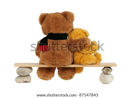 teddy bears Couple sitting on a bench back view, isolated on white background - stock photo