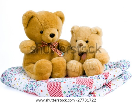 2 Teddy bears sitting on a quilted blanket