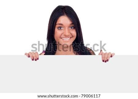teen girl holding blank white billboard, isolated on white background
