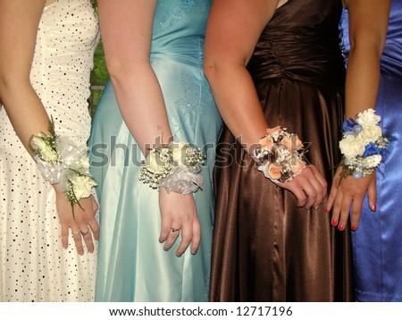 4 teen girls in formal wear