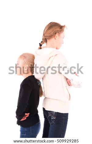 2 teen girls on a white background