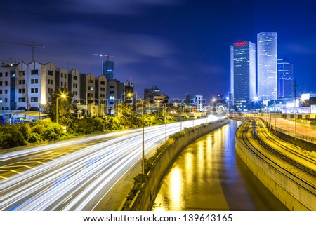 Tel Aviv Cityscape - Traffic on Ayalon Freeway