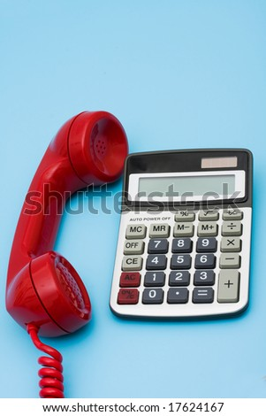 Telephone with calculator â?? help with your financial questions - stock photo