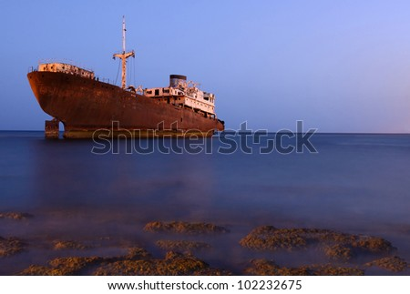 """Temple Hall"" shipwreck near Costa Teguise on Lanzarote island - stock photo"