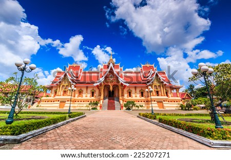 temple Vientiane, Laos , They are public domain or treasure of Buddhism, no restrict in copy or use  - stock photo
