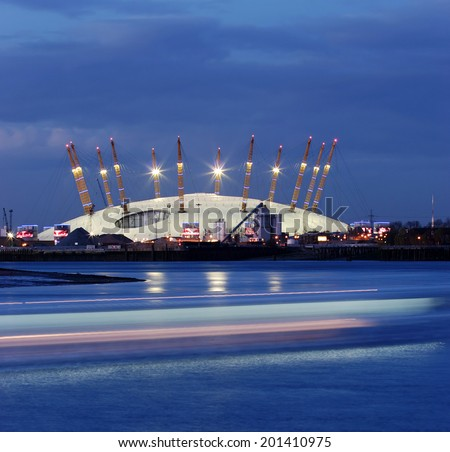 02 tent in London at night - stock photo