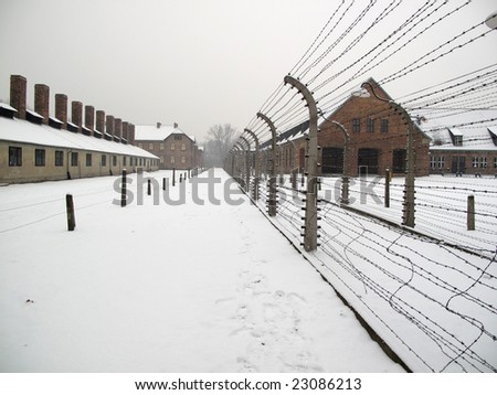 Territory of Auschwitz concentration camp in Poland - stock photo