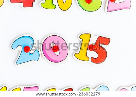 2015 Text Design on white background