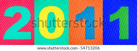 2011 text from rubber with tread plate texture - stock photo