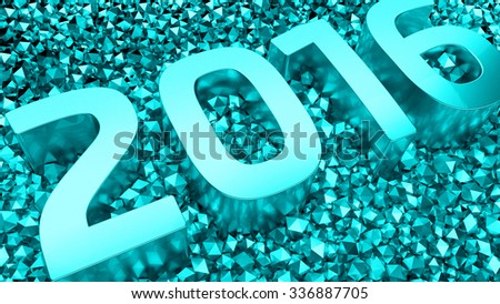2016 text is standing among metal spheres with blurred reflections