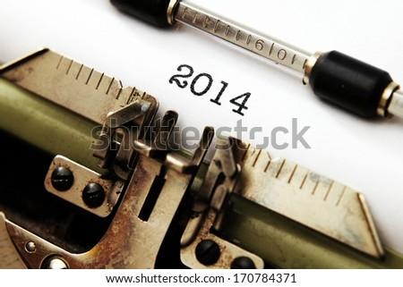 2014 text on typewriter - stock photo