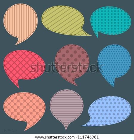Textile speech bubbles. Raster version - stock photo